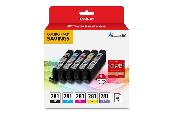 2091C006   Canon CLI-281   Original Canon Ink Cartridge Combo Pack - Black, Photo Blue, Cyan, Magenta, Yellow