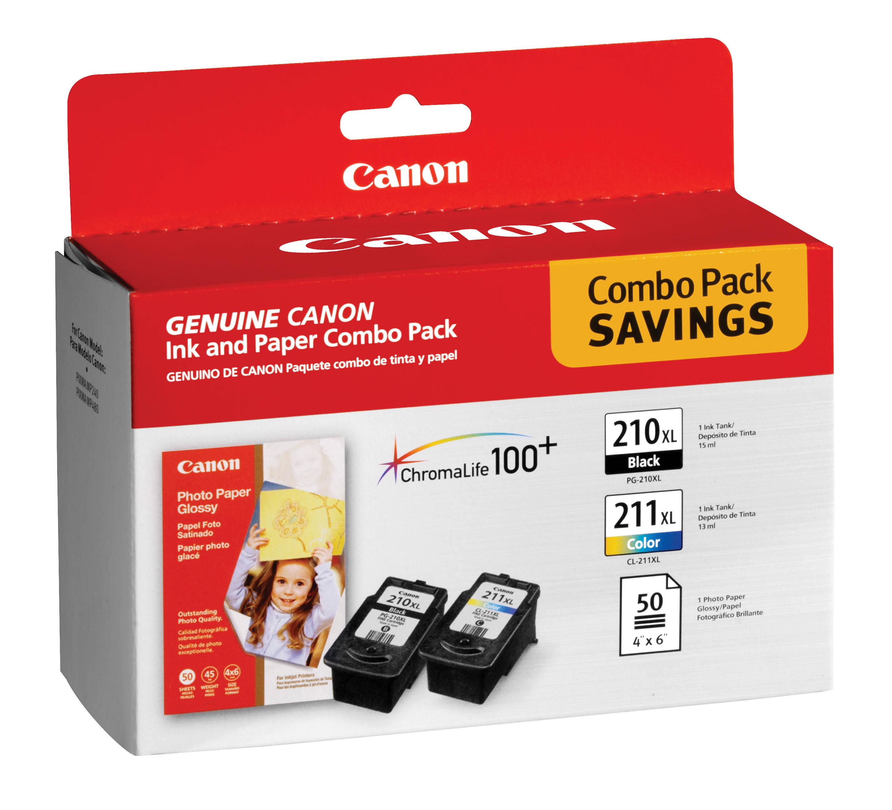 2973B004 | Canon PG-210/CL-221 | Original Canon Ink & Paper Combo Pack - Black, Cyan, Yellow, Magenta