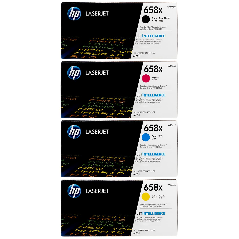 Original HP 658X SET   W2000X W2001X W2002X W2003X   LaserJet High-Yield Toner Cartridges - Black, Cyan, Magenta, Yellow