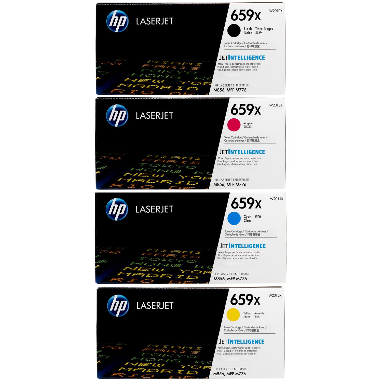 Original HP 659X SET | W2010X W2011X W2012X W2013X | LaserJet High-Yield Toner Cartridges - Black, Cyan, Magenta, Yellow