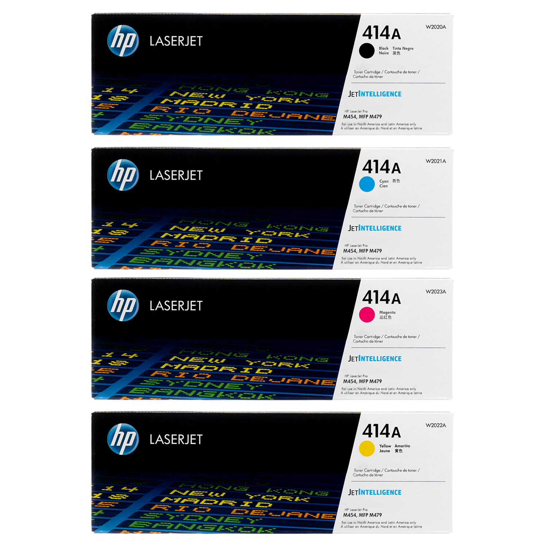 Original HP 414A SET   W2020A W2021A W2022A W2023A   LaserJet Toner Cartridges - Black, Cyan, Magenta, Yellow