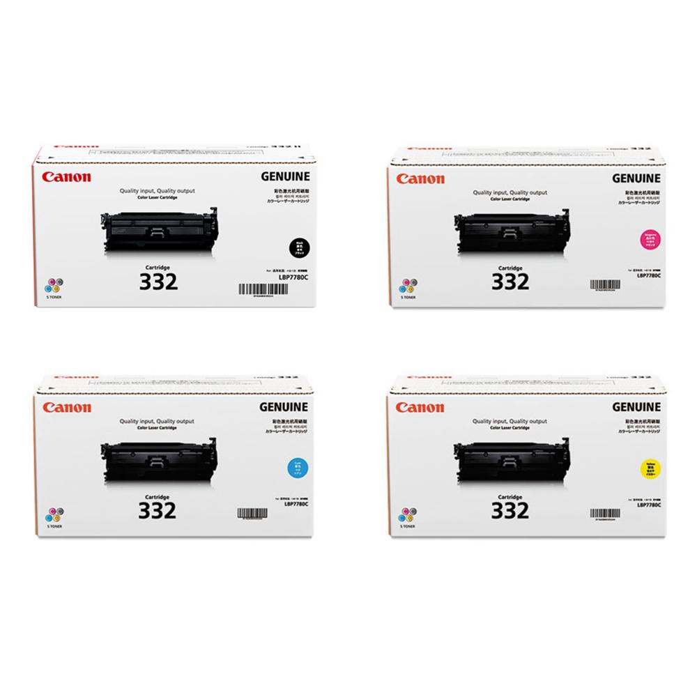 Canon 332 Set   Original Canon Laser Toner Cartridges – Black, Cyan, Magenta, Yellow