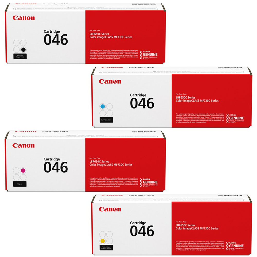 Canon 046 Set   Original Canon Laser Toner Cartridges – Black, Cyan, Magenta, Yellow