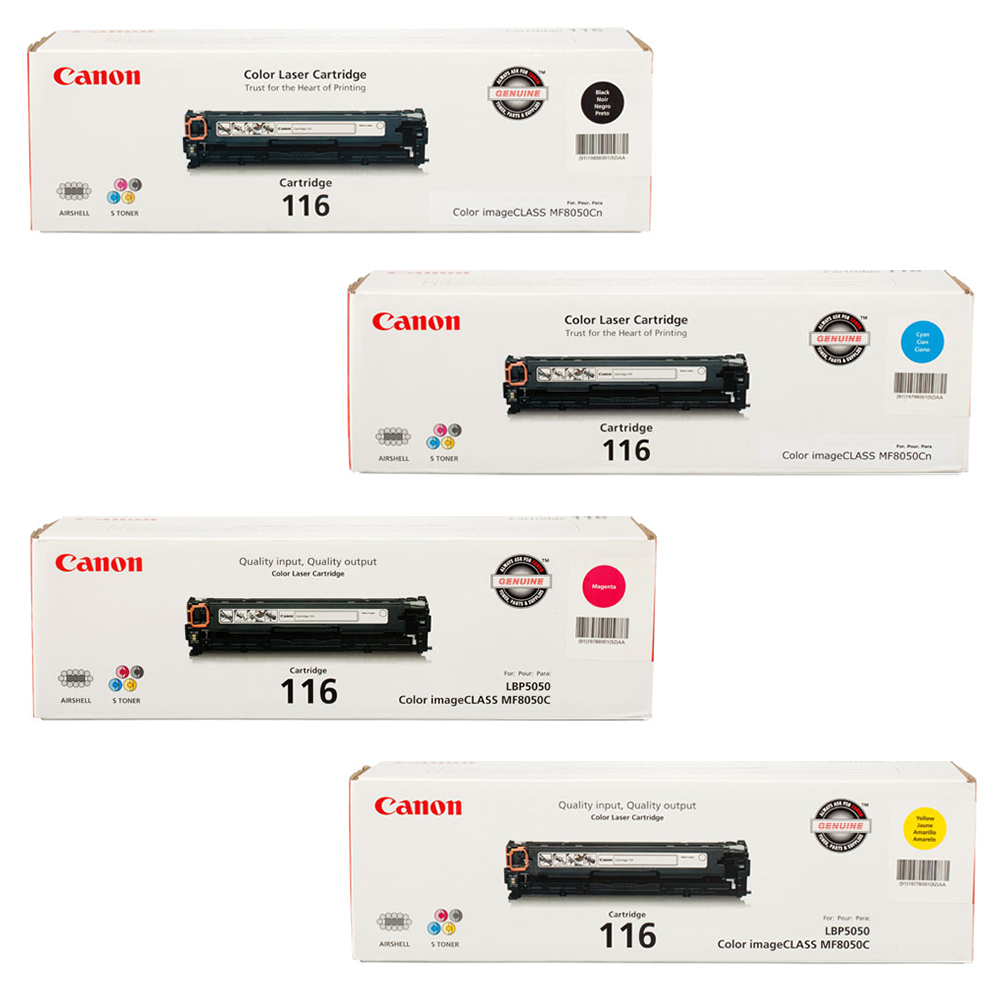 Canon 116 Set   Original Canon Laser Toner Cartridges – Black, Cyan, Magenta, Yellow