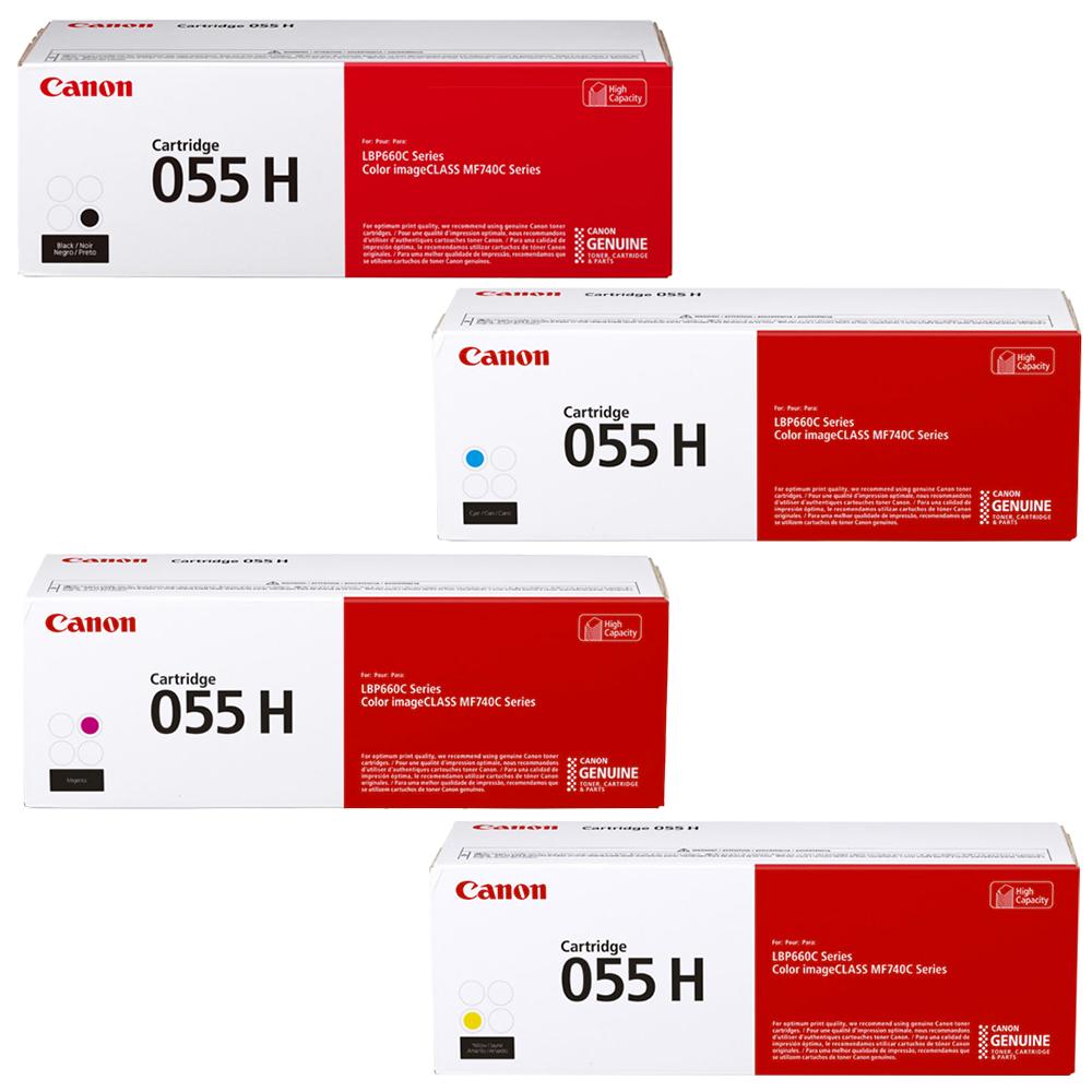 Canon 055H Set   Original Canon High-Yield Laser Toner Cartridges – Black, Cyan, Magenta, Yellow