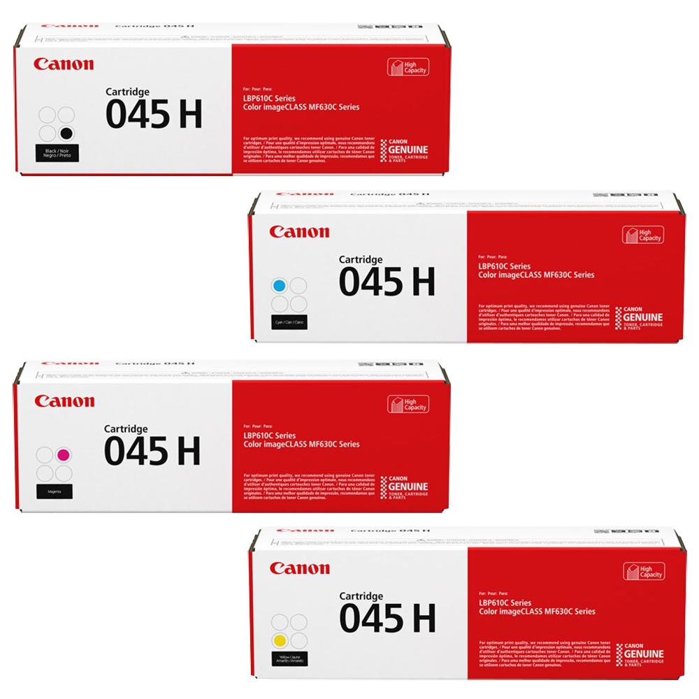 Canon 045H Set   Original Canon Laser Toner Cartridges – Black, Cyan, Magenta, Yellow