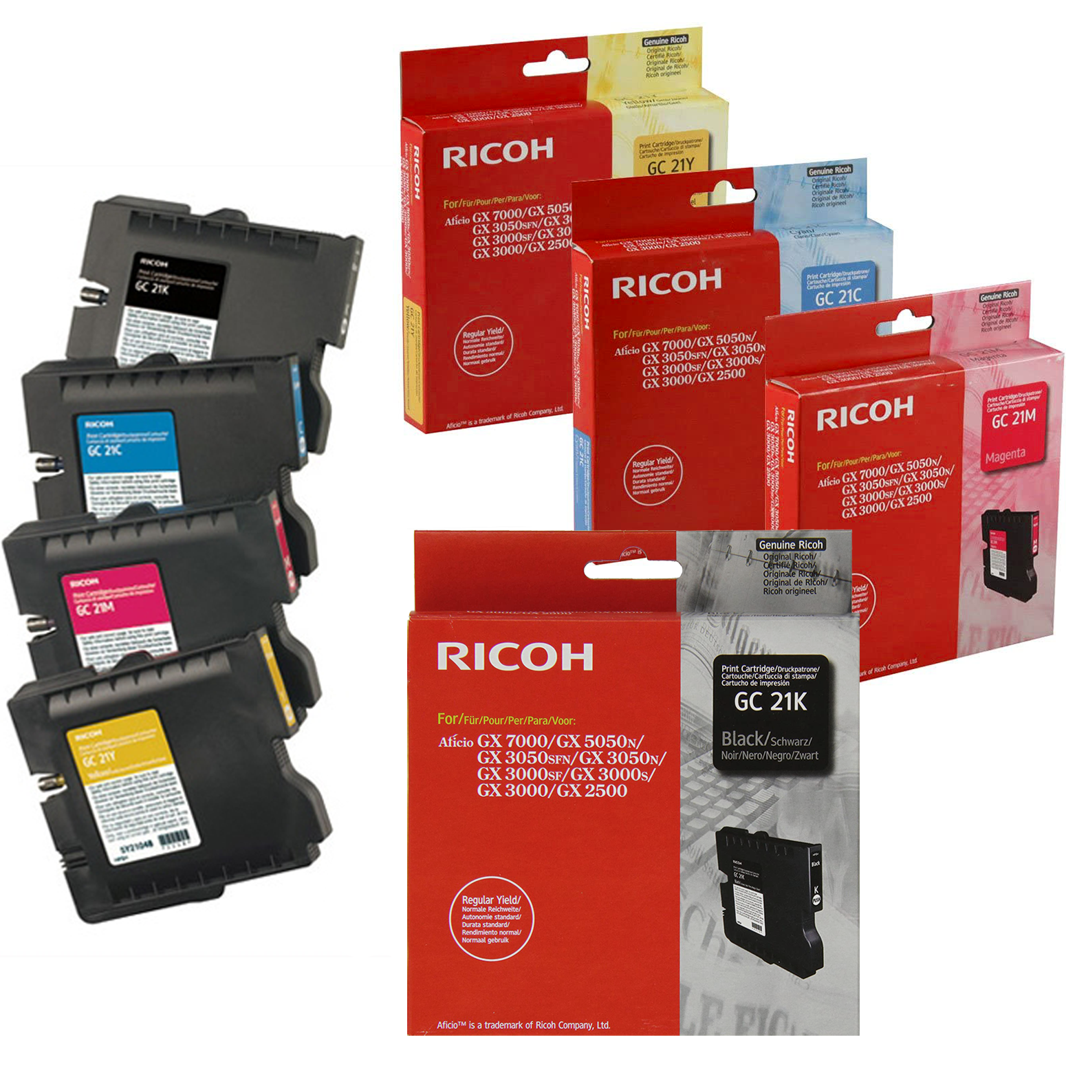 Ricoh GC21 Set | 405532 405533 405534 405535 | Original Ricoh Laser Toner Cartridges – Black, Cyan, Magenta, Yellow