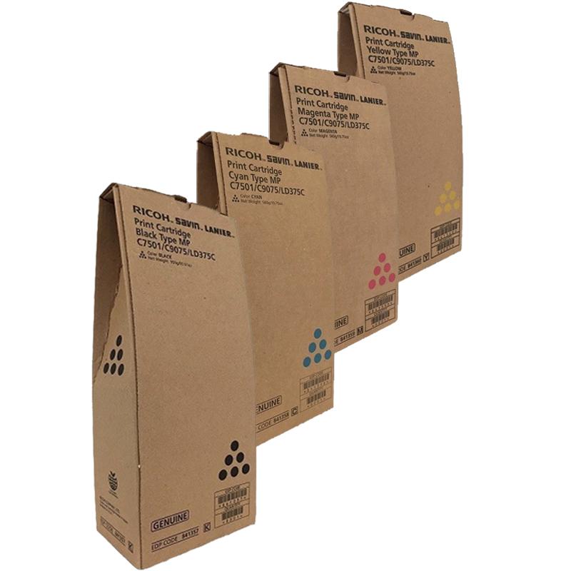 Ricoh MP-C65001SP Set   841357 841358 841359 841360   Original Ricoh Laser Toner Cartridges – Black, Cyan, Magenta, Yellow