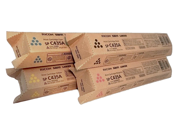 Ricoh SP-C435A Set | 821243 821244 821245 821246 | Original Ricoh Laser Toner Cartridges – Black, Cyan, Magenta, Yellow