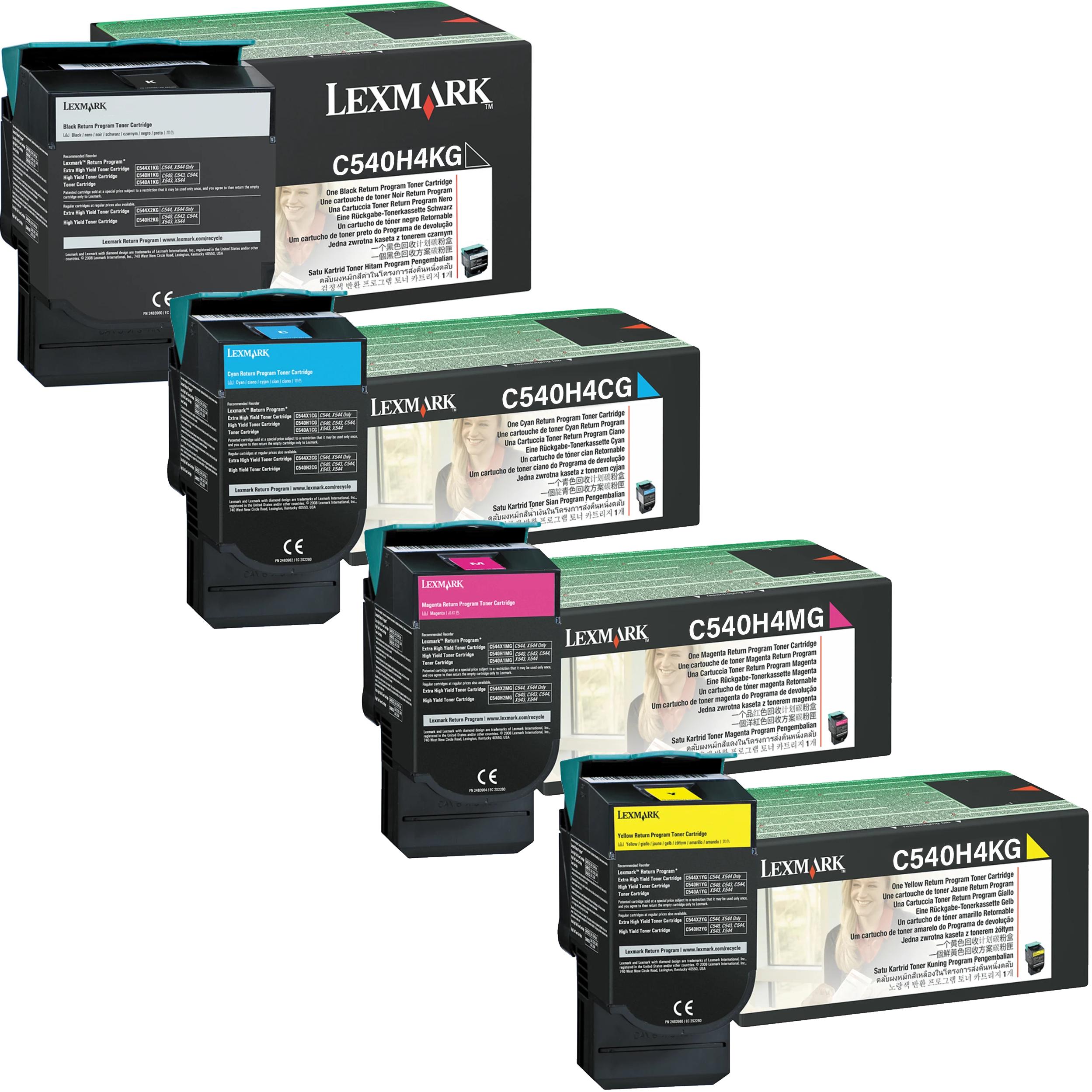 Lexmark C540H4 Set | C540H4CG C540H4KCG C540H4MG C540H4YG | Original Lexmark High-Yield Toner Cartridges – Black, Cyan, Magenta, Yellow