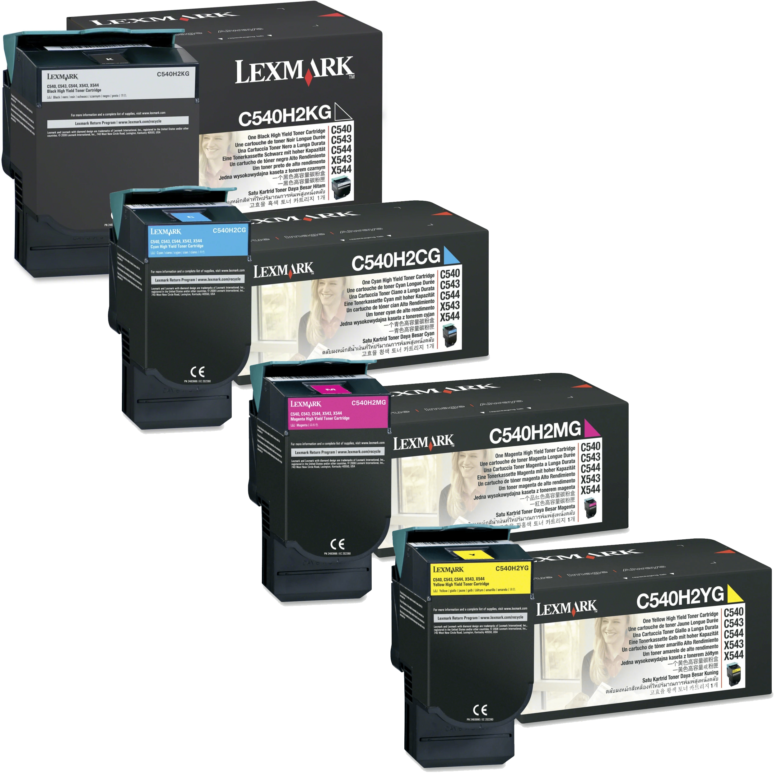Lexmark C540H2 Set | C540H2CG C540H2KG C540H2MG C540H2YG | Original Lexmark High-Yield Toner Cartridges – Black, Cyan, Magenta, Yellow