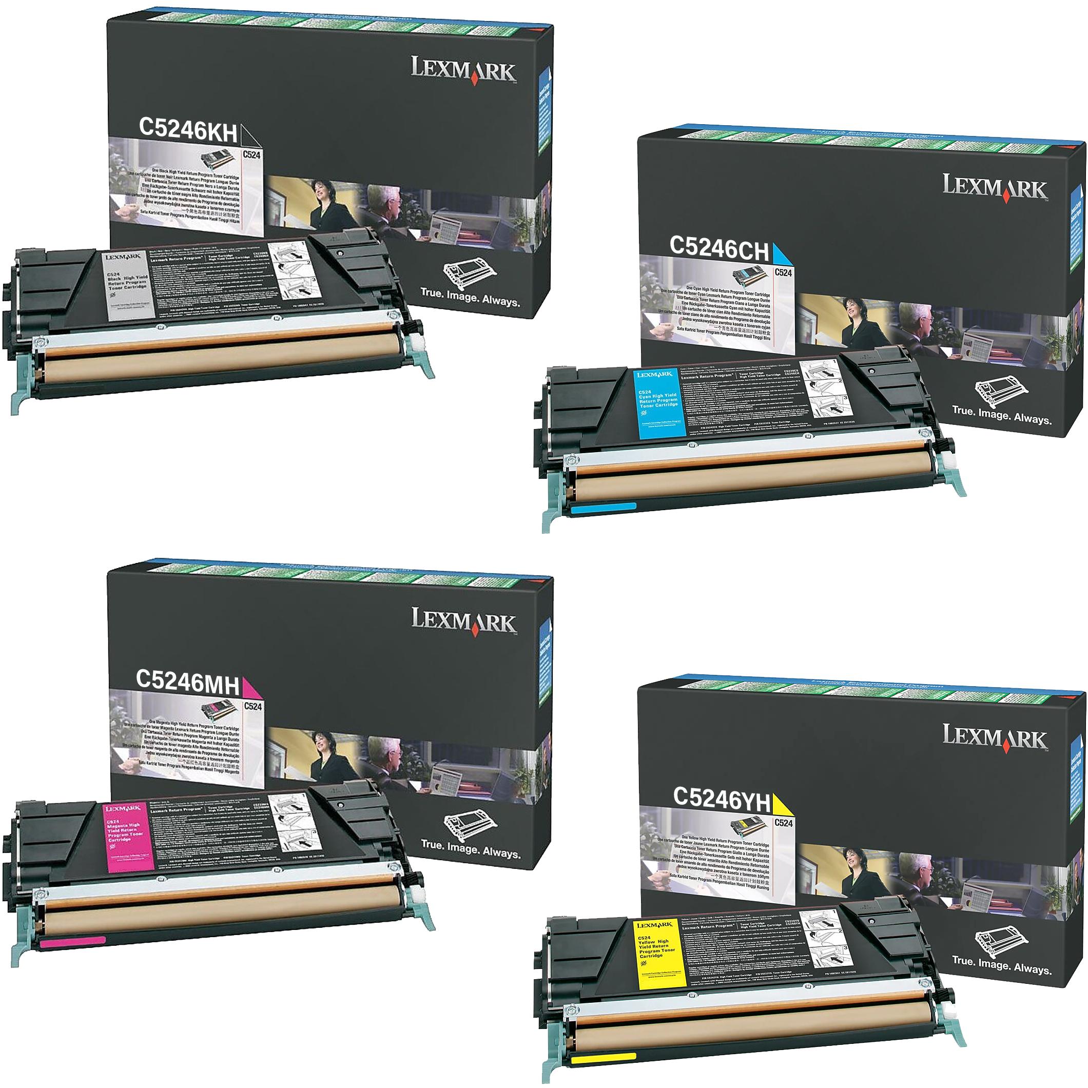 Lexmark C5246 Set   C5246CH C5246KH C5246MH C5246YH   Original Lexmark High-Yield Toner Cartridges – Black, Cyan, Magenta, Yellow