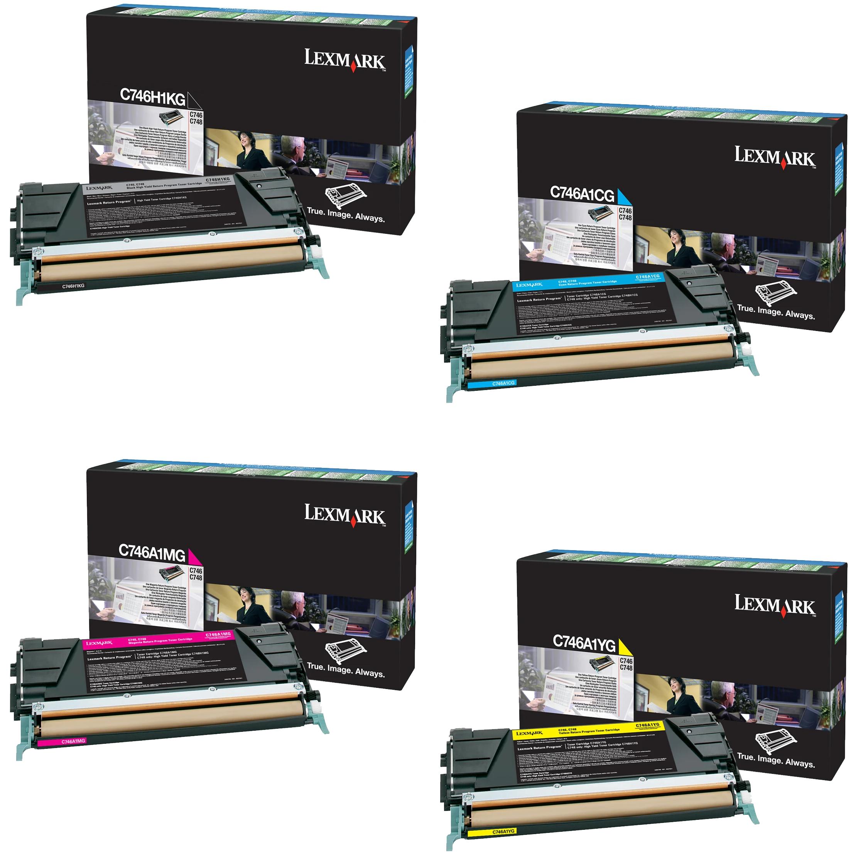 Lexmark C746A1 Set | C746H1KG C746A1CG C746A1MG C746A1YG | Original Lexmark Toner Cartridges – High-Yield Black, Cyan, Magenta, Yellow