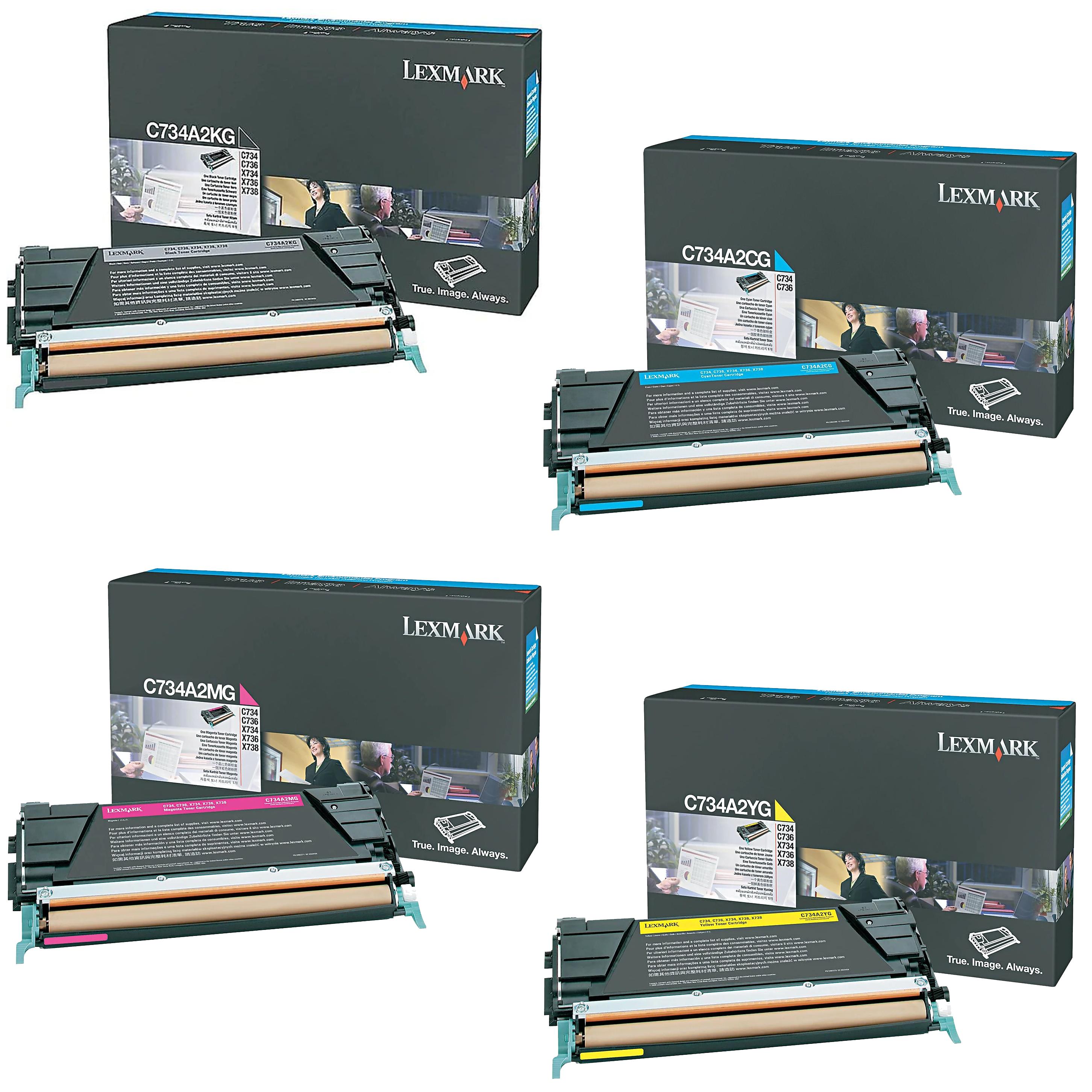 Lexmark C734A2 Set | C734A2CG C734A2KG C734A2MG C734A2YG | Original Lexmark Toner Cartridges – Black, Cyan, Magenta, Yellow