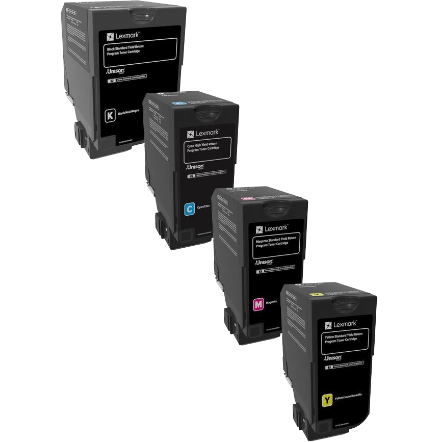 Lexmark 74C1S Set | 74C1SC0 74C1SK0 74C1SM0 74C1SY0 | Original Lexmark Toner Cartridges – Black, Cyan, Magenta, Yellow