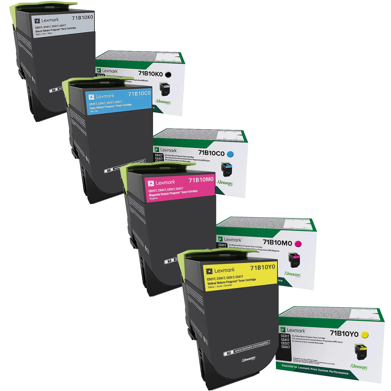 Lexmark CX317 Set | 71B10C0 71B10K0 71B10M0 71B10Y0 | Original Lexmark Toner Cartridges – Black, Cyan, Magenta, Yellow