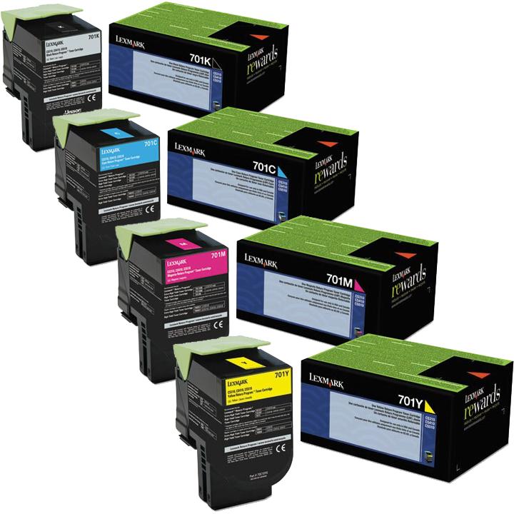 Lexmark 701 Set   70C10C0 70C10K0 70C10M0 70C10Y0   Original Lexmark Toner Cartridges – Black, Cyan, Magenta, Yellow