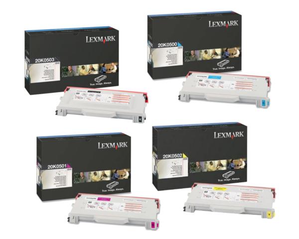 Lexmark 20K0500 Set | 20K0500 20K0501 20K0502 20K0503 | Original Lexmark Toner Cartridges – Black, Cyan, Magenta, Yellow