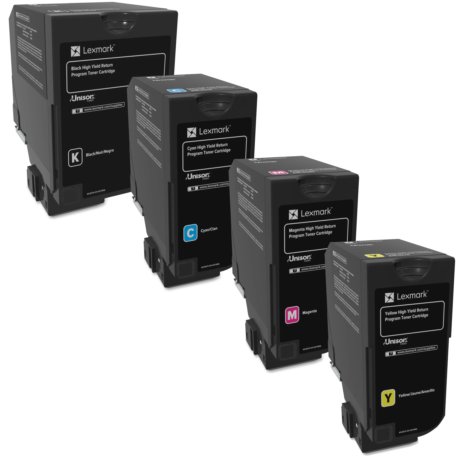 Lexmark 84C1H Set | 84C1HC0 84C1HK0 84C1HM0 84C1HY0 | Original Lexmark High-Yield Toner Cartridges – Black, Cyan, Magenta, Yellow