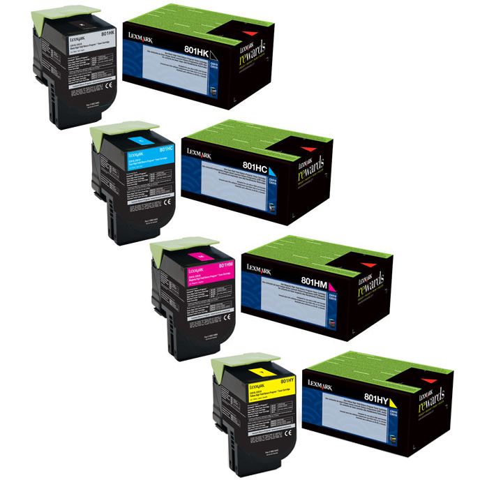 Lexmark 801H Set   80C1HC0 80C1HK0 80C1HM0 80C1HY0   Original Lexmark High-Yield Toner Cartridges – Black, Cyan, Magenta, Yellow