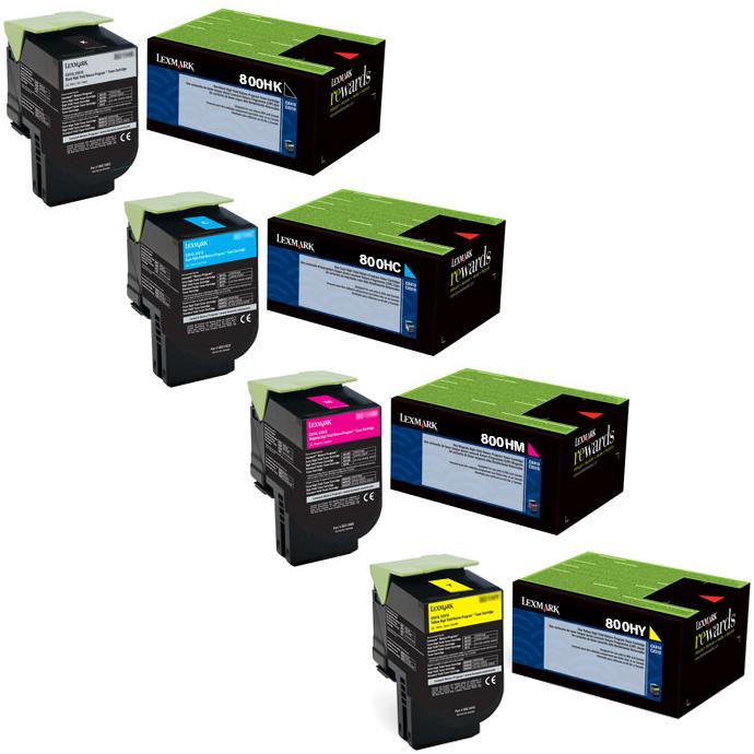 Lexmark 80C0HG Set | 80C0HCG 80C0HKG 80C0HMG 80C0HYG | Original Lexmark High-Yield Toner Cartridges – Black, Cyan, Magenta, Yellow