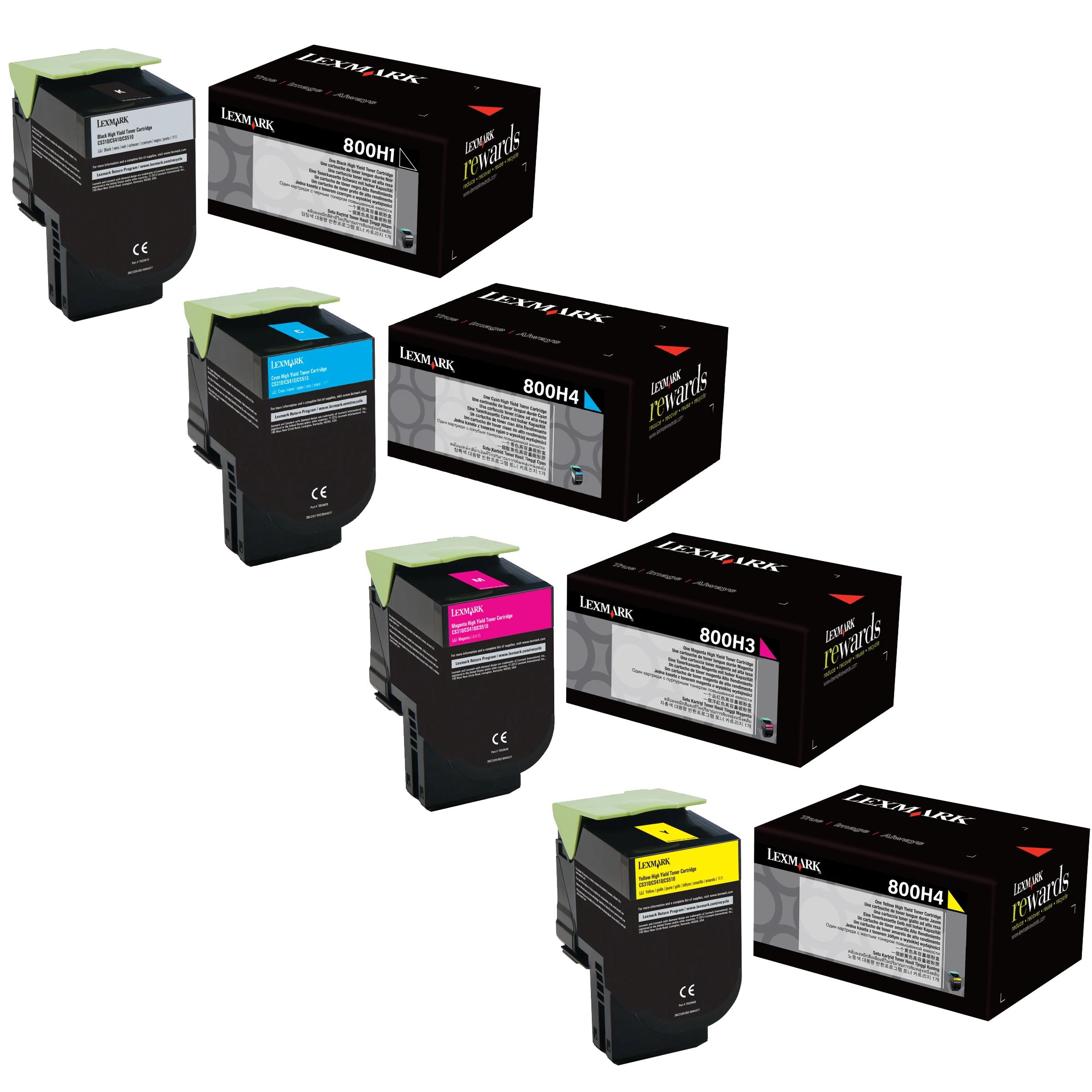 Lexmark 80C0H Set | 80C0H10 80C0H20 80C0H30 80C0H40 | Original Lexmark High-Yield Toner Cartridges – Black, Cyan, Magenta, Yellow