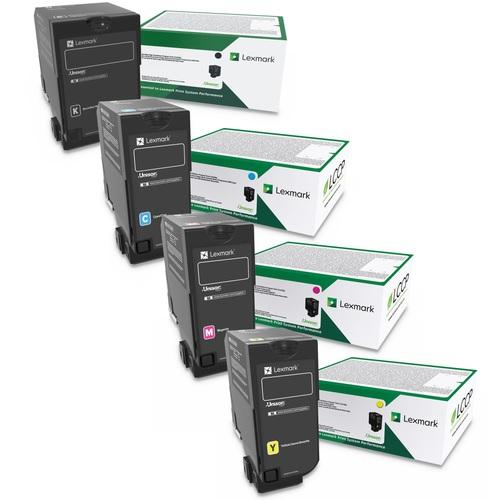 Lexmark 74C1H Set | 74C1HC0 74C1HK0 74C1HM0 74C1HY0 | Original Lexmark High-Yield Toner Cartridges – Black, Cyan, Magenta, Yellow