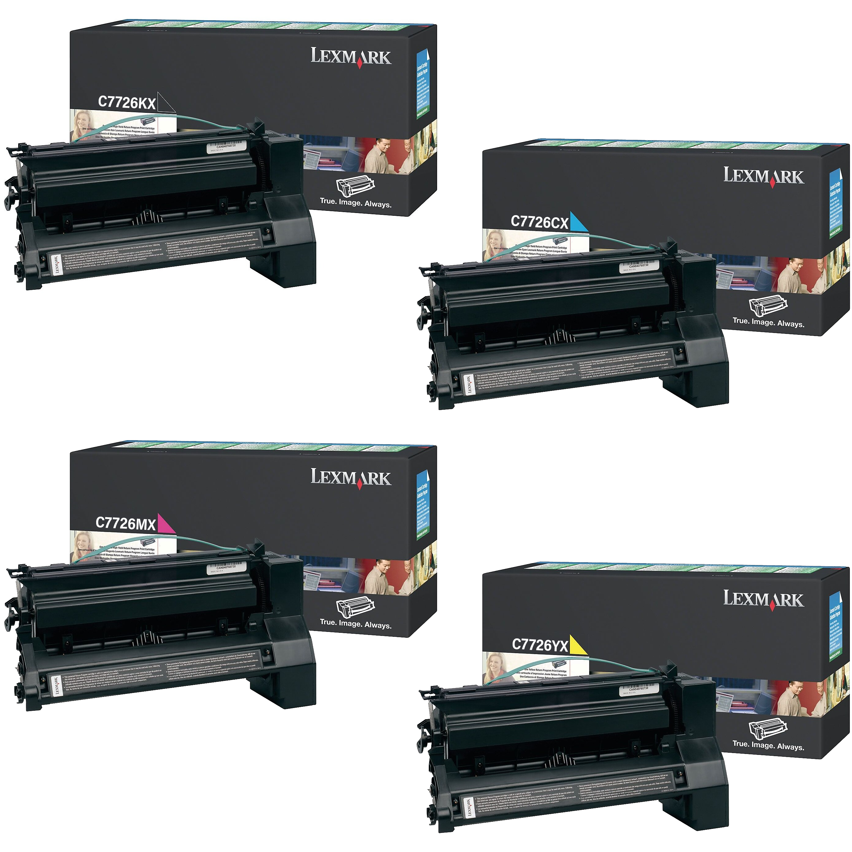 Lexmark C7726 Set   C7726CX C7726KX C7726MX C7726YX   Original Lexmark Extra High-Yield Toner Cartridges – Black, Cyan, Magenta, Yellow