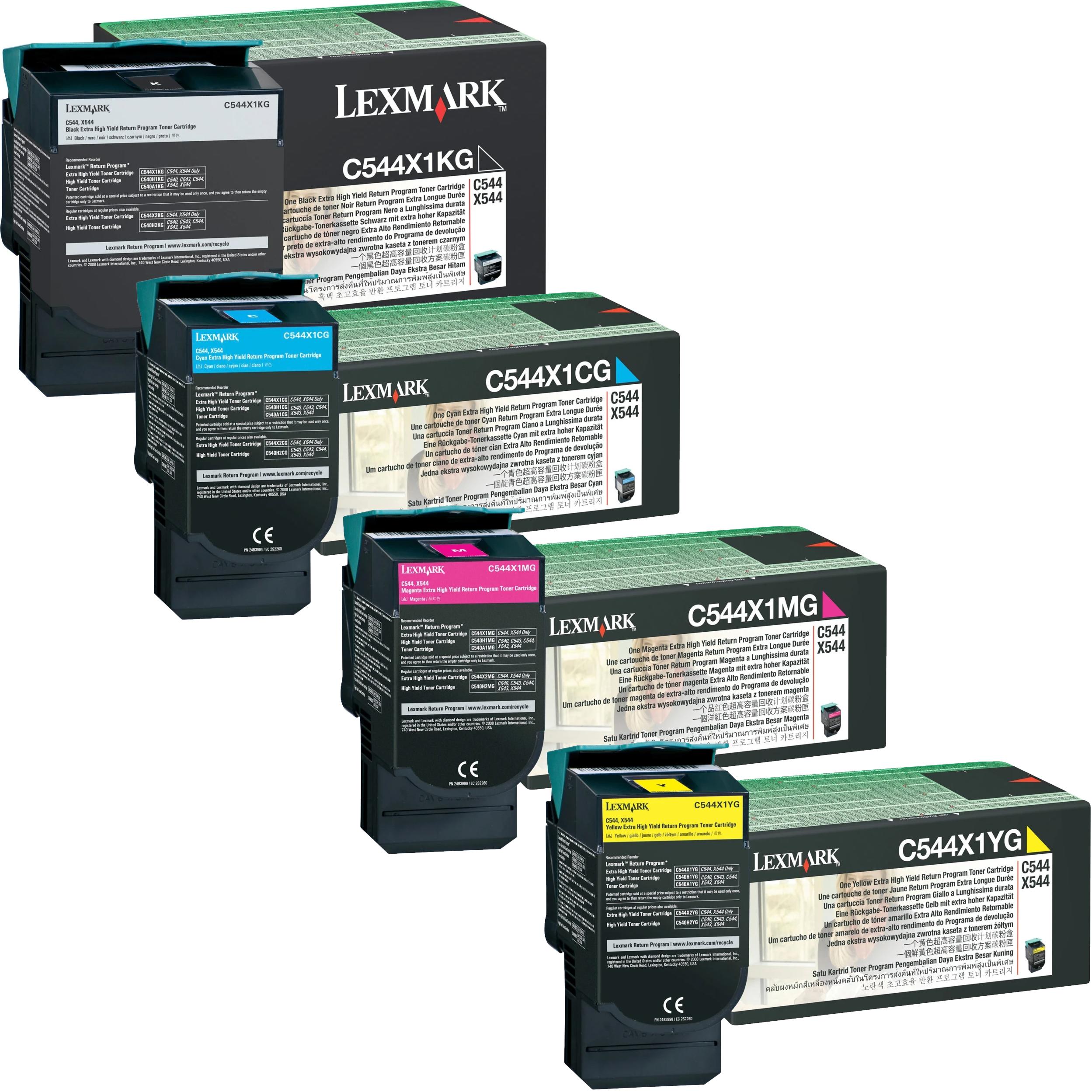 Lexmark C544X1 Set | C540H4CG C540H4KCG C540H4MG C540H4YG | Original Lexmark Extra High-Yield Toner Cartridges – Black, Cyan, Magenta, Yellow