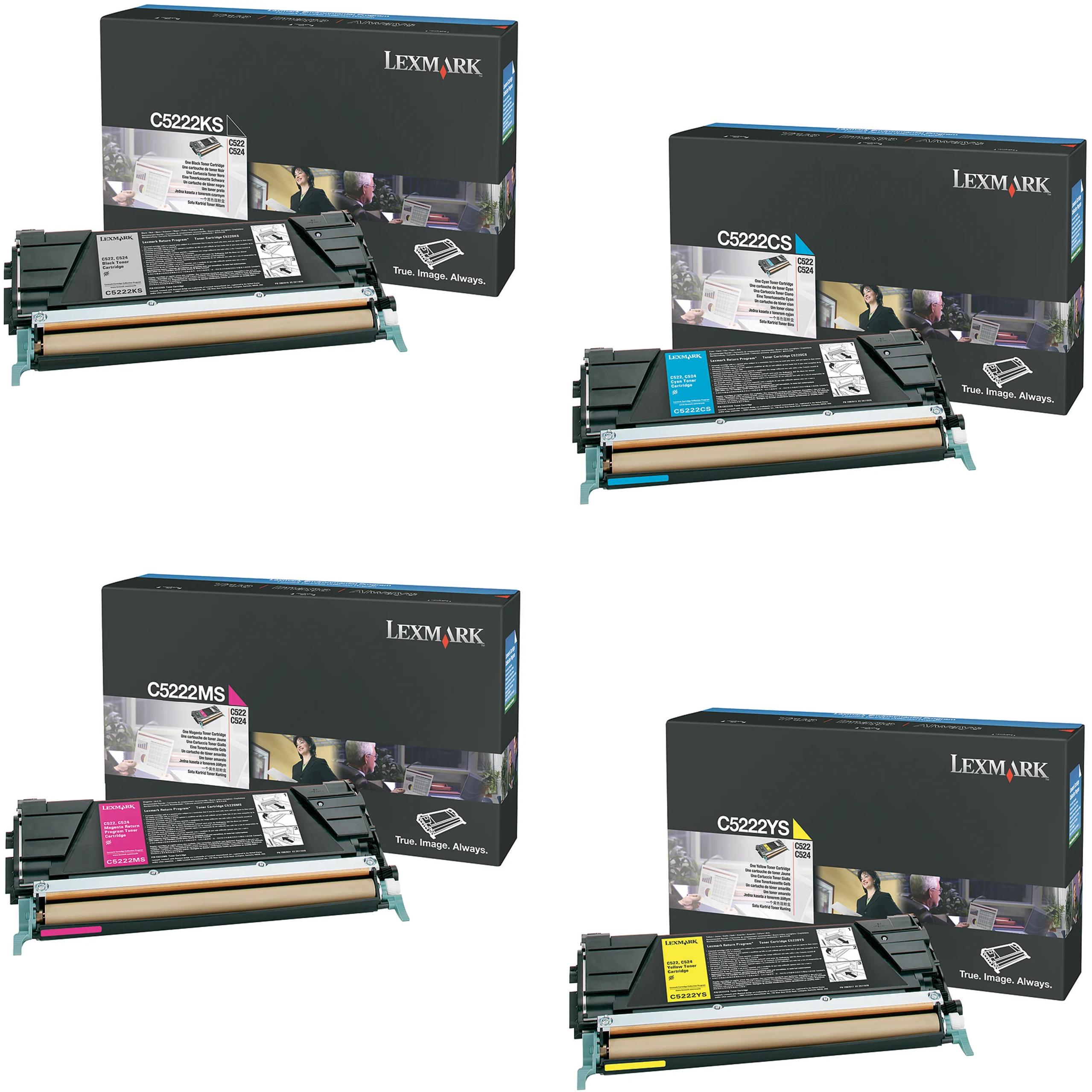 Lexmark C5222 Set | C5222CS C5222KS C5222MS C5222YS | Original Lexmark Toner Cartridges – Black, Cyan, Magenta, Yellow