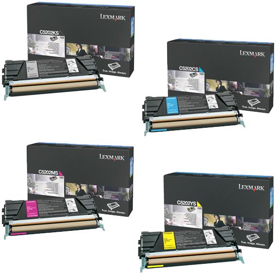 Lexmark C5202 Set   C5202CS C5202KS C5202MS C5202YS   Original Lexmark Toner Cartridges – Black, Cyan, Magenta, Yellow