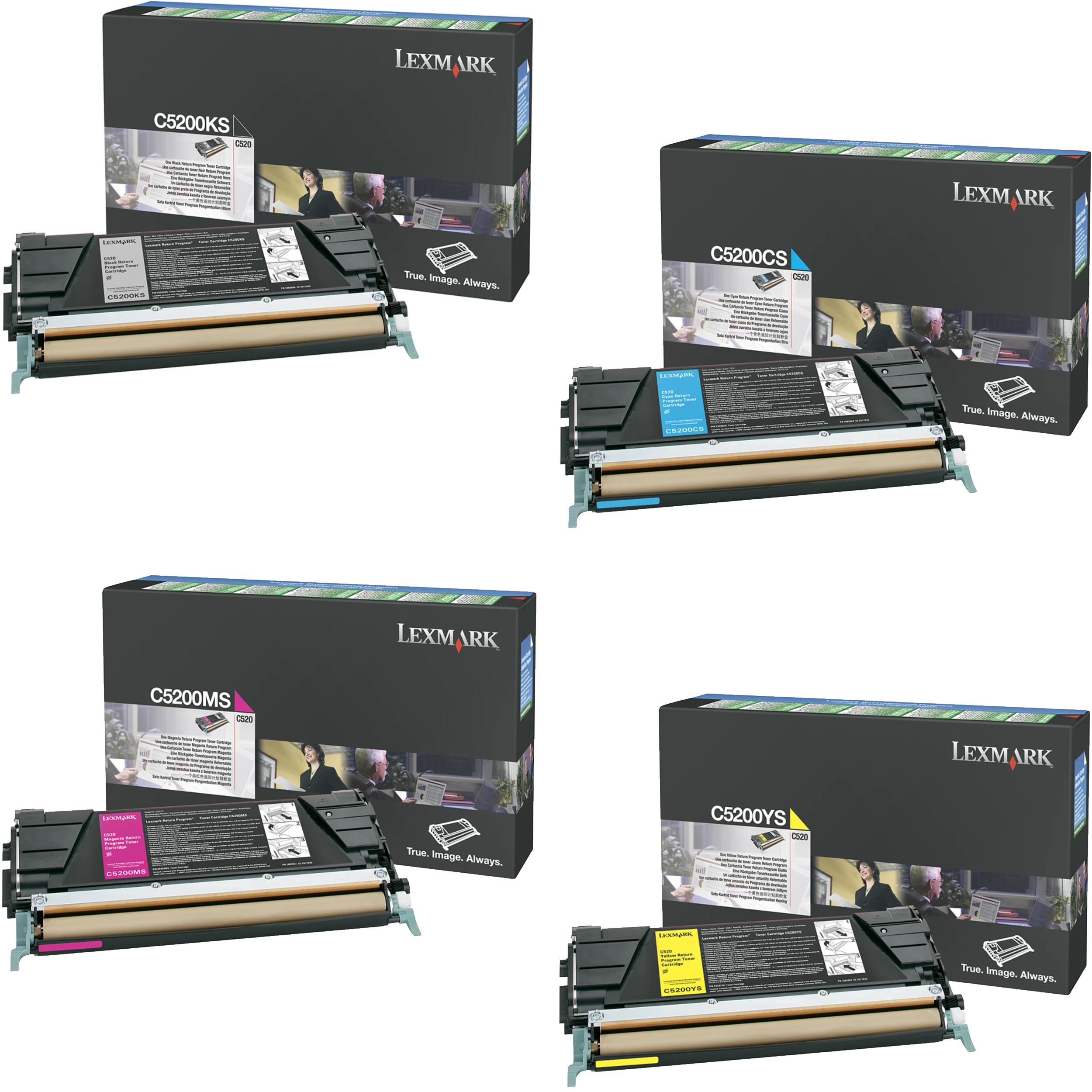 Lexmark C5200 Set   C5200CS C5200KS C5200MS C5200YS   Original Lexmark Toner Cartridges – Black, Cyan, Magenta, Yellow