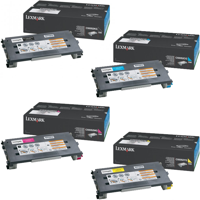 Lexmark C500S2 Set | C500S2CG C500S2KG C500S2MG C500S2YG | Original Lexmark Toner Cartridges – Black, Cyan, Magenta, Yellow