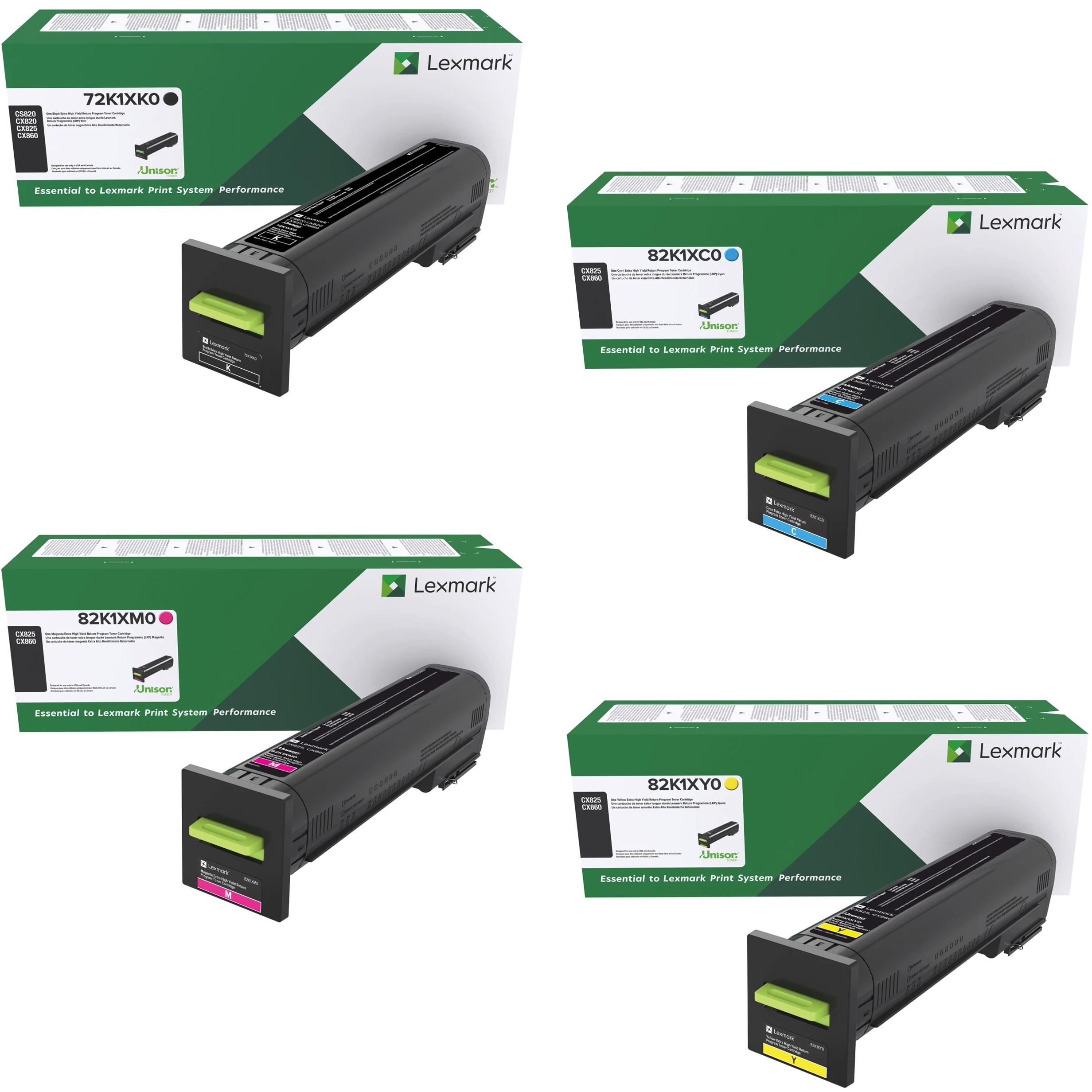 Lexmark CX820XHY Set | 72K1XK0 82K1XC0 82K1XM0 82K1XY0 | Original Lexmark Toner Cartridges – Black, Cyan, Magenta, Yellow
