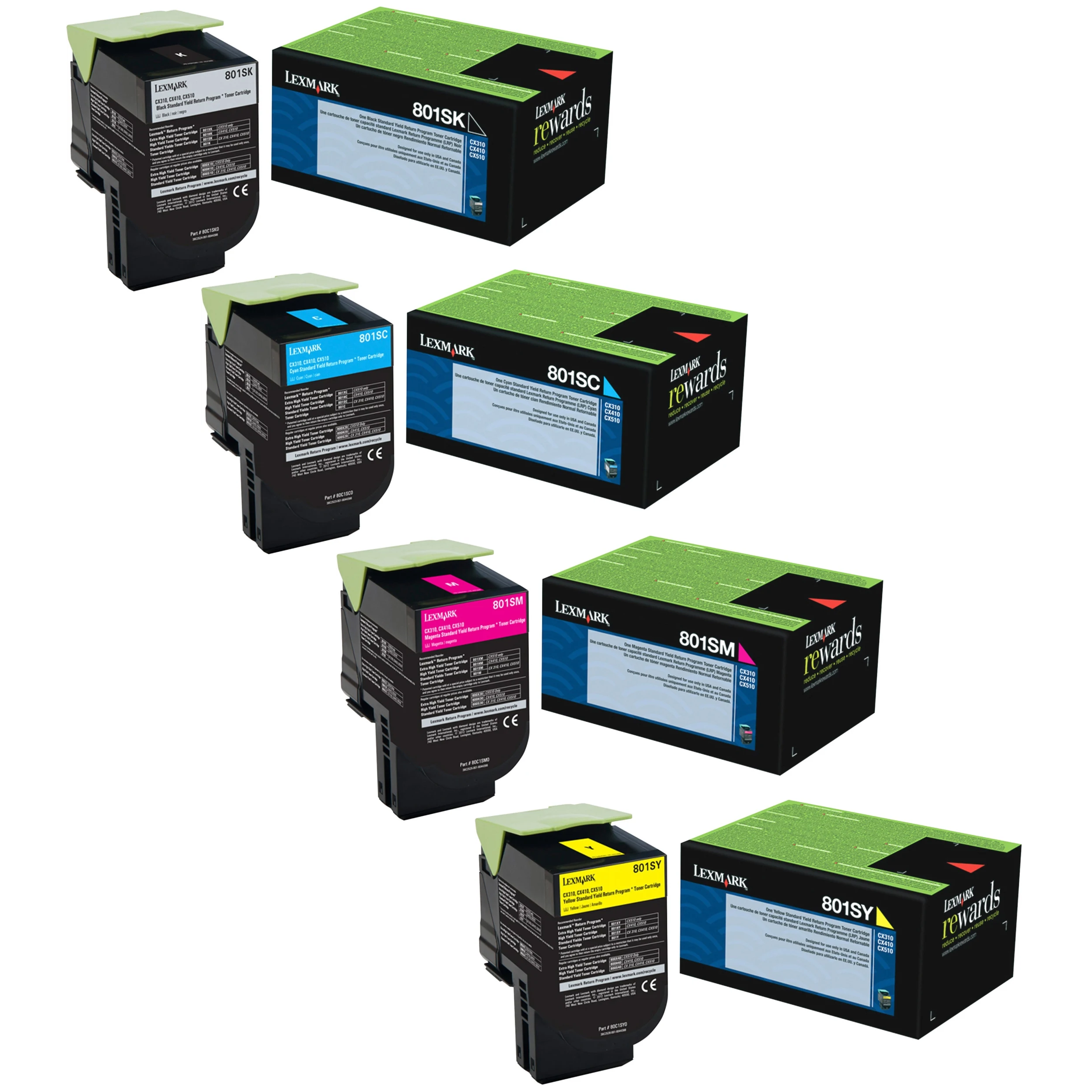 Lexmark 801S Set | 80C1SC0 80C1SK0 80C1SM0 80C1SY0 | Original Lexmark Toner Cartridges – Black, Cyan, Magenta, Yellow