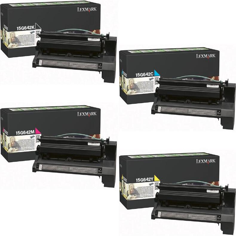 Lexmark 15G642 Set | 15G642C 15G642K 15G642M 15G642Y | Original Lexmark Return Program High-Yield Program Toner Cartridges – Black, Cyan, Magenta, Yellow