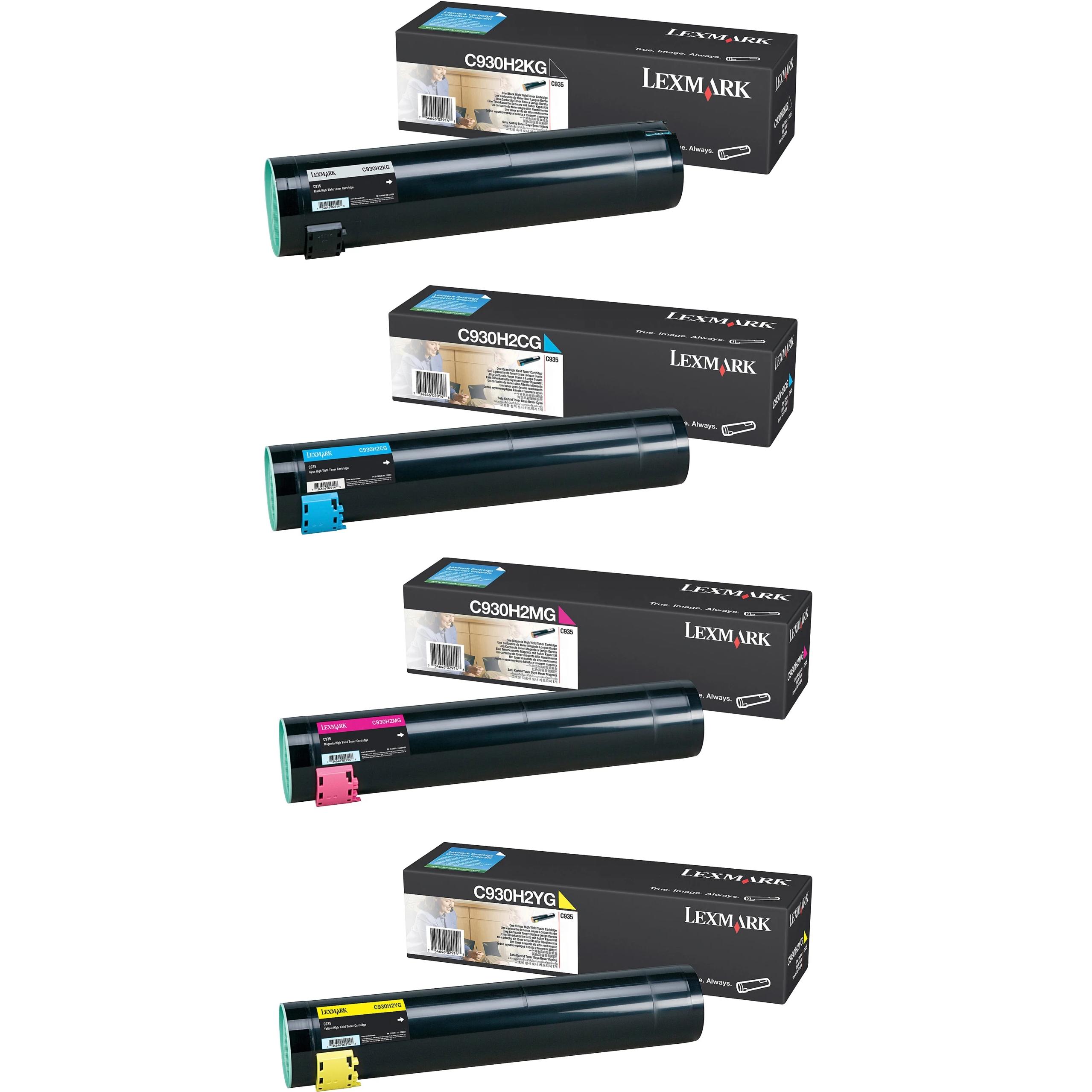 Lexmark C930H2 Set | C930H2CG C930H2KG C930H2MG C930H2YG | Original Lexmark High-Yield Toner Cartridges – Black, Cyan, Magenta, Yellow