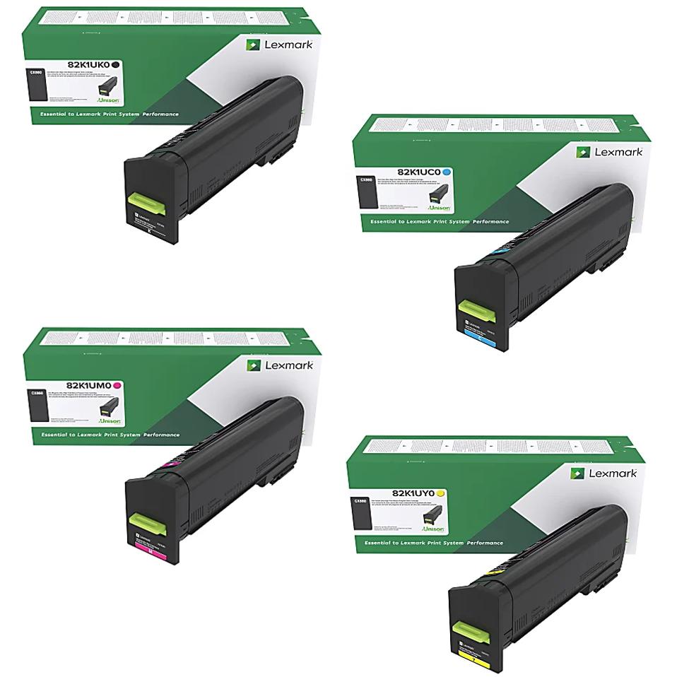 Lexmark CX860 Set   82K1UC0 82K1UK0 82K1UM0 82K1UY0   Original Lexmark Ultra High-Yield Toner Cartridges – Black, Cyan, Magenta, Yellow
