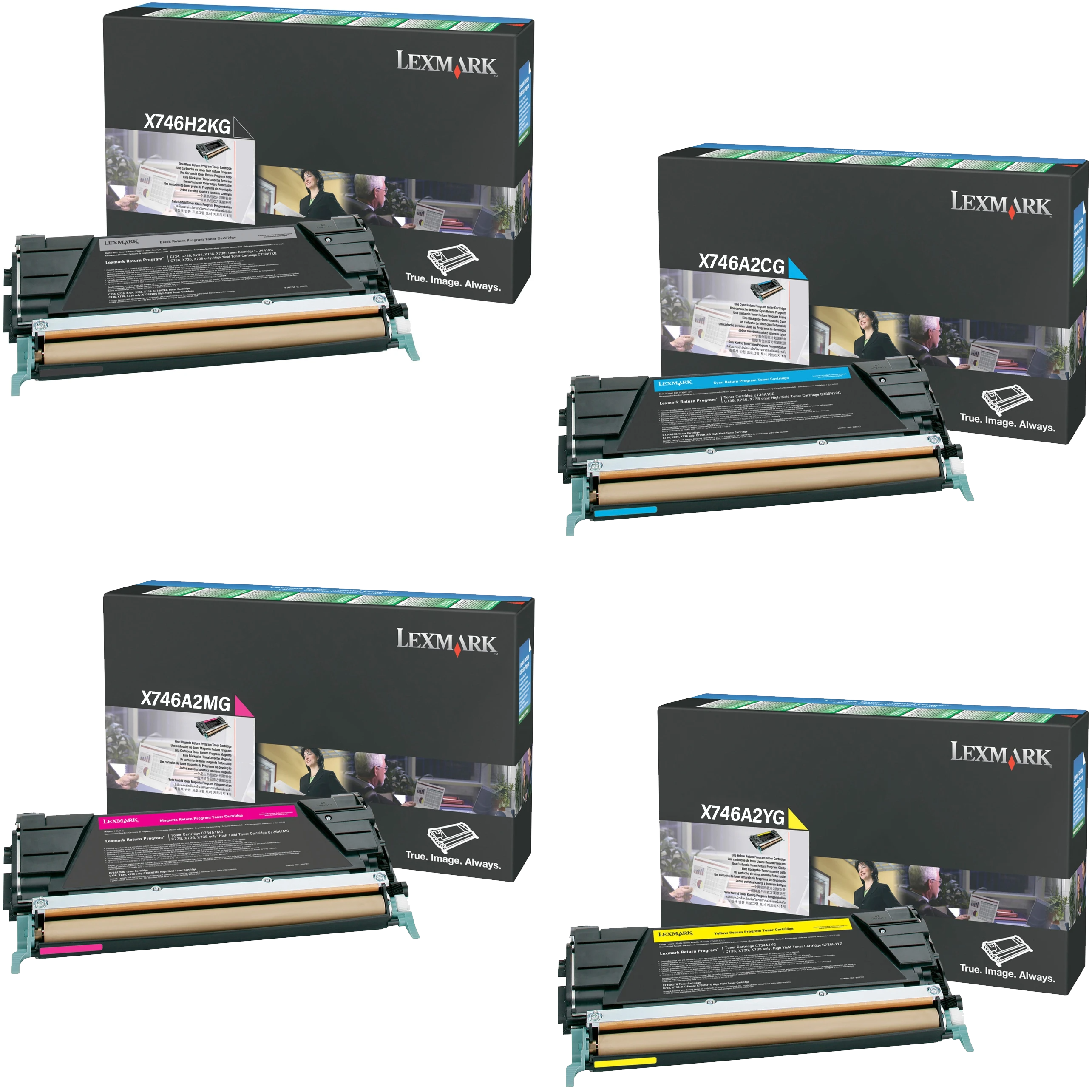 Lexmark X746A2 Set   X746H2KG X746A2CG X746A2MG X746A2YG   Original Lexmark Toner Cartridges – High-Yield Black, Cyan, Magenta, Yellow