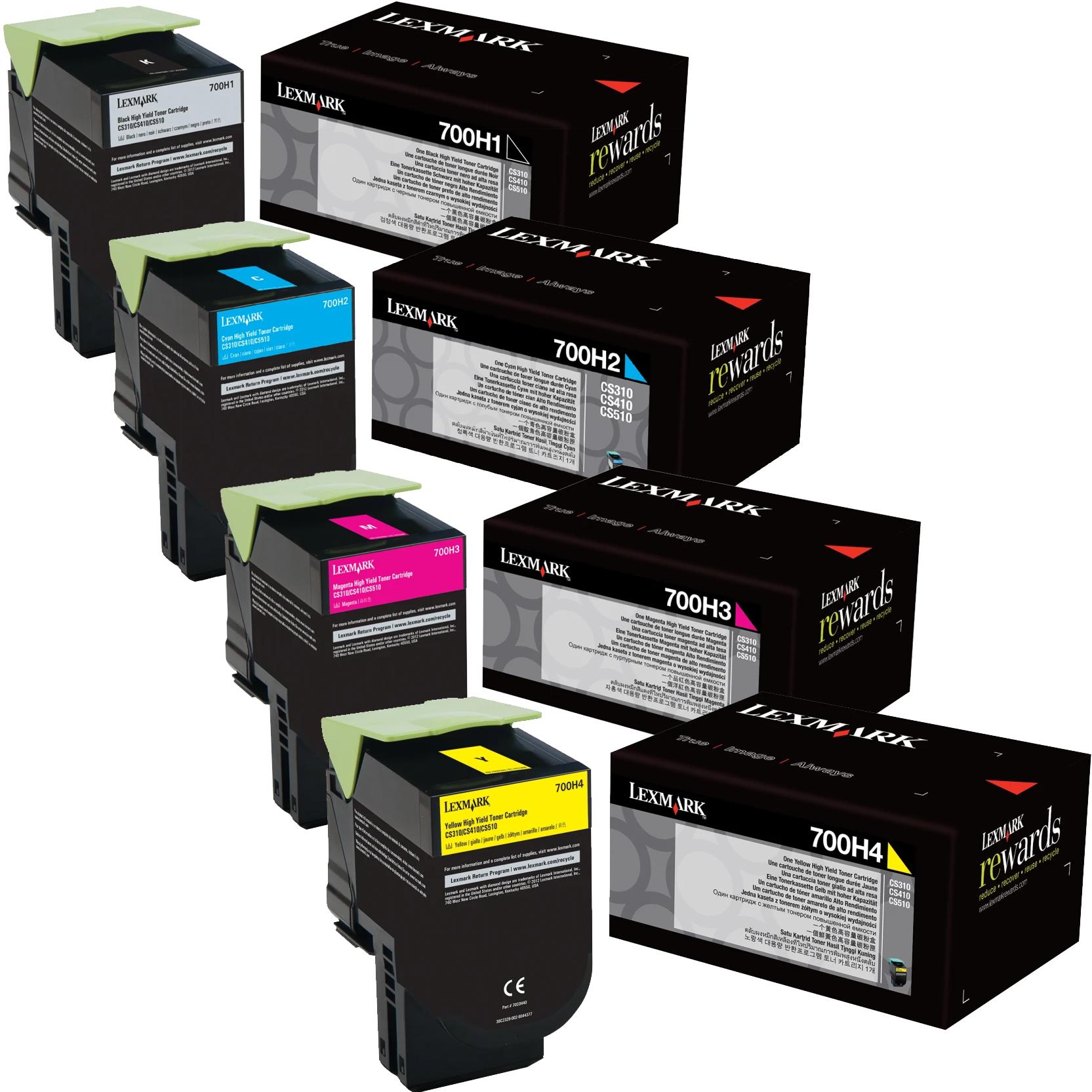 Lexmark 700H Set   70C0H10 70C0H20 70C0H30 70C0H40   Original Lexmark High-Yield Toner Cartridges – Black, Cyan, Magenta, Yellow