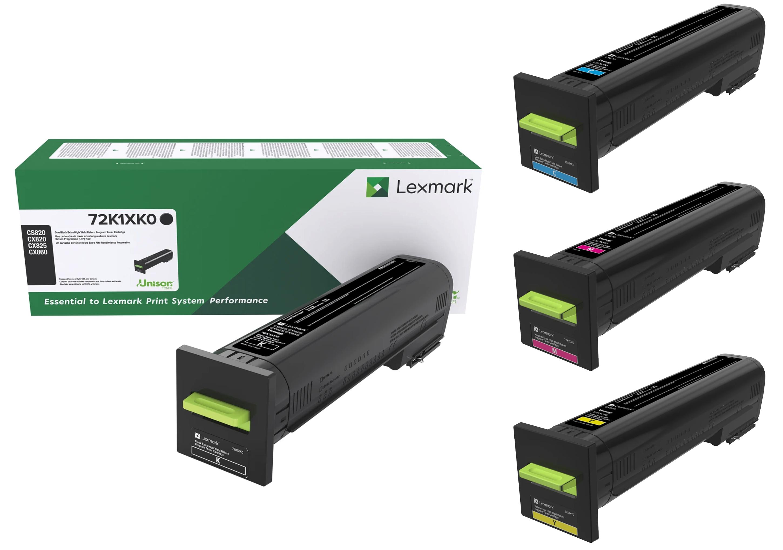 Lexmark CX820 Set | 72K1XC0 72K1XK0 72K1XM0 72K1XY0 | Original Lexmark Extra High-Yield Toner Cartridges – Black, Cyan, Magenta, Yellow