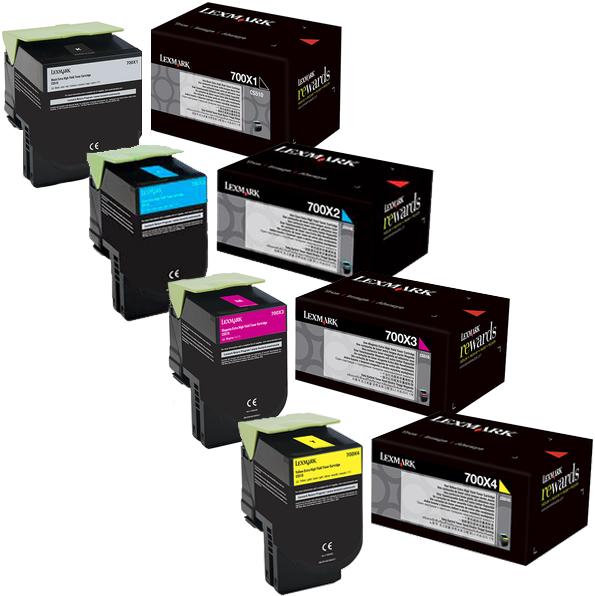 Lexmark 700X Set | 70C0X10 70C0X20 70C0X30 70C0X40 | Original Lexmark Extra High-Yield Toner Cartridges – Black, Cyan, Magenta, Yellow
