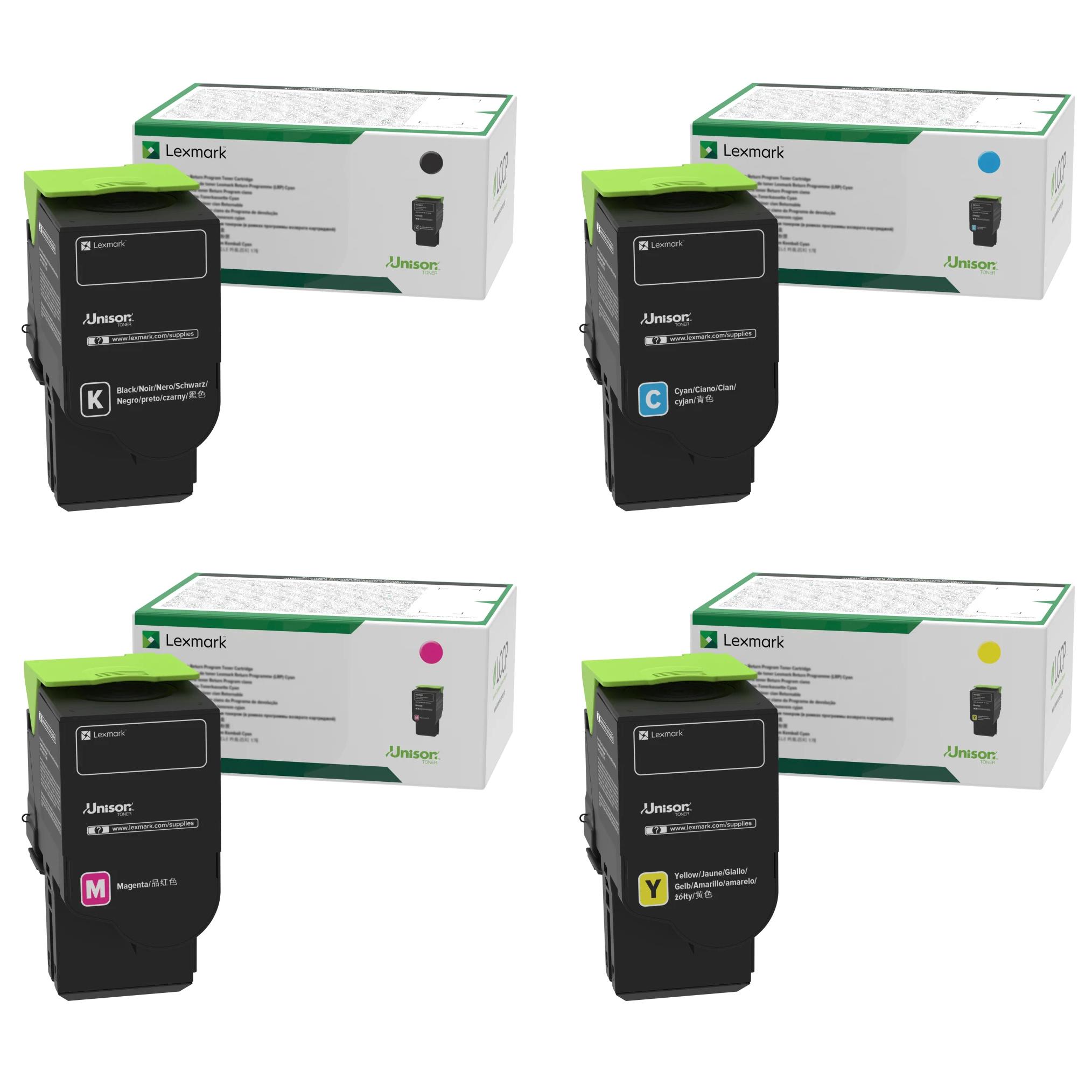 Lexmark 78C0X Set | 78C10C0 78C10K0 78C10M0 78C10Y0 | Original Lexmark Toner Cartridges – Black, Cyan, Magenta, Yellow