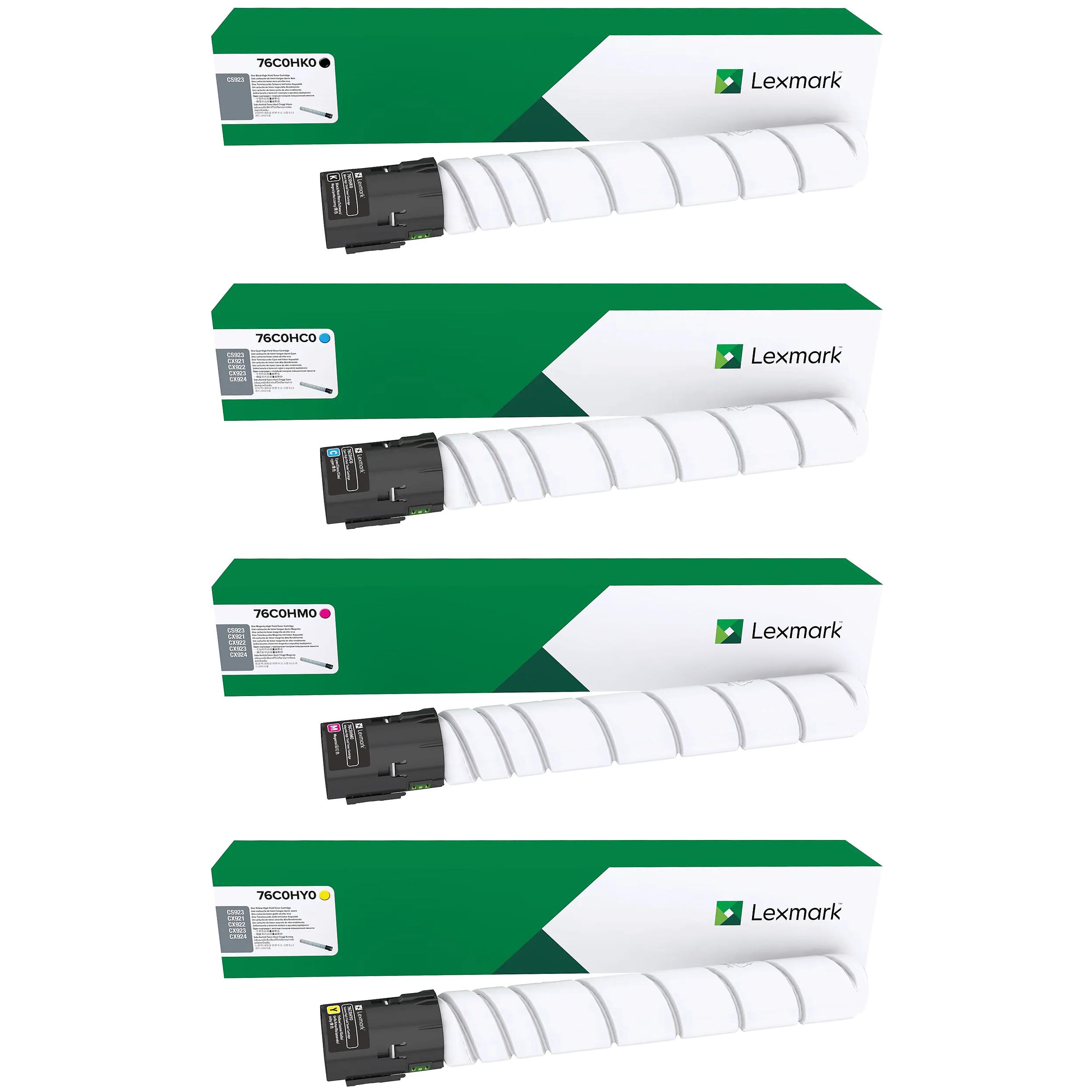 Lexmark CS923 Set | 76C0HC0 76C0HK0 76C0HM0 76C0HY0 | Original Lexmark Toner Cartridges – Black, Cyan, Magenta, Yellow