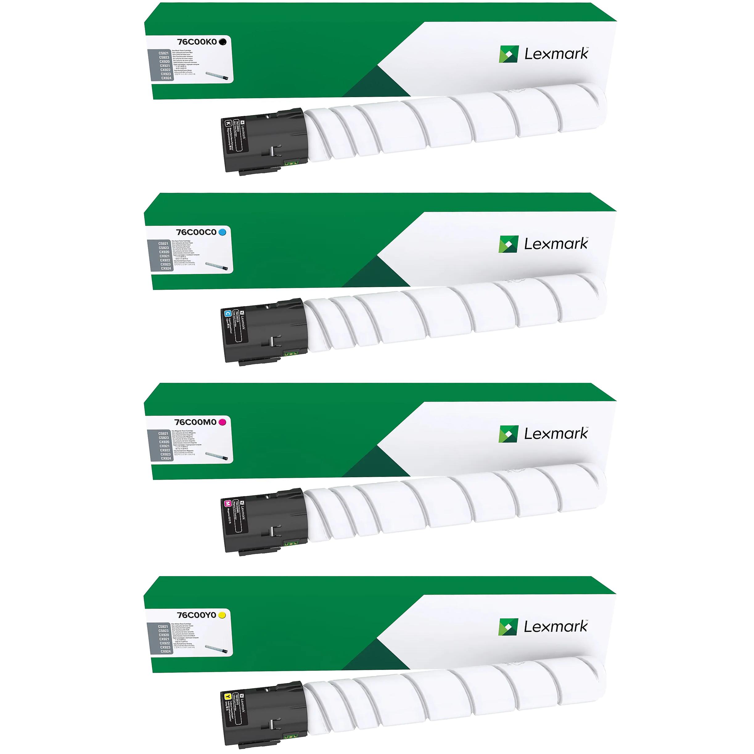 Lexmark CS921 Set | 76C00C0 76C00K0 76C00M0 76C00Y0 | Original Lexmark Toner Cartridges – Black, Cyan, Magenta, Yellow