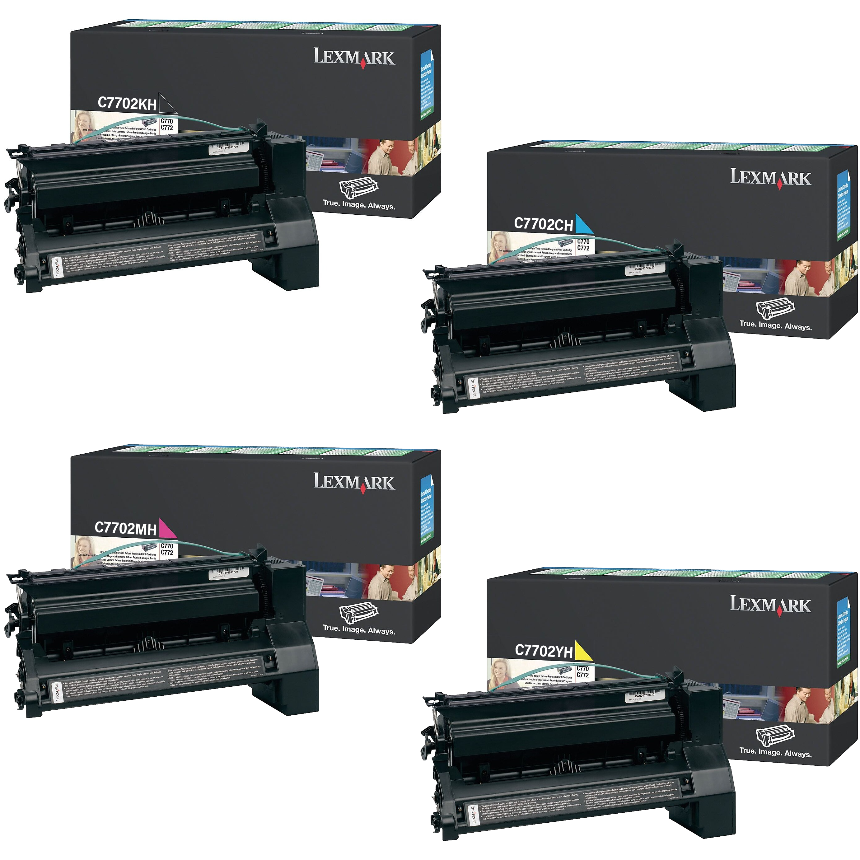 Lexmark C7702 Set | C7702CH C7702KH C7702MH C7702YH | Original Lexmark High-Yield Toner Cartridges – Black, Cyan, Magenta, Yellow