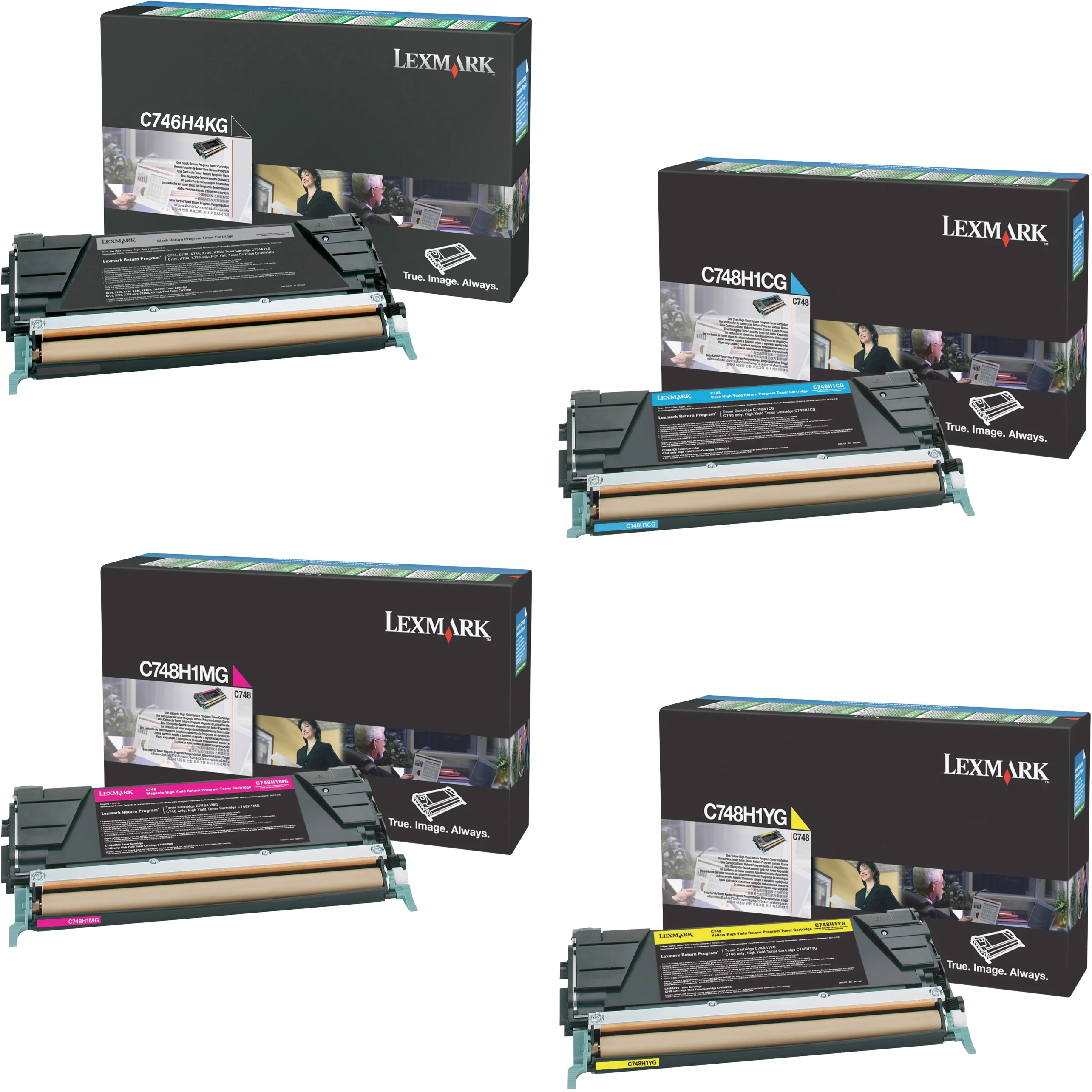 Lexmark C748H1 Set   C746H4KG C748H1CG C748H1MG C748H1YG   Original Lexmark High-Yield Toner Cartridges – Black, Cyan, Magenta, Yellow
