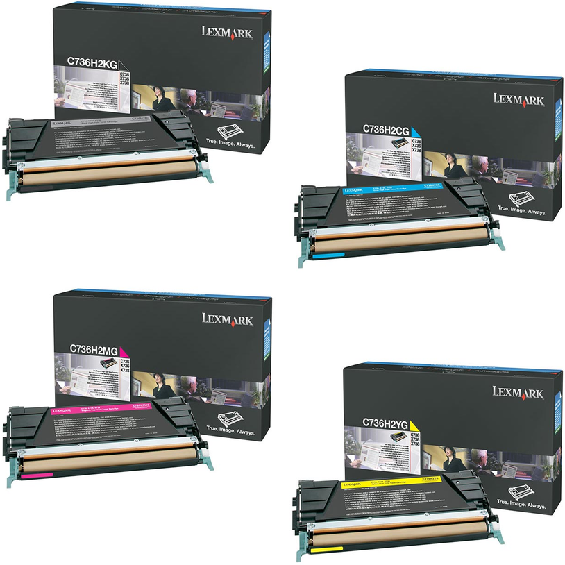 Lexmark C736H2 Set | C736H2CG C736H2KG C736H2MG C736H2YG | Original Lexmark High-Yield Toner Cartridges – Black, Cyan, Magenta, Yellow