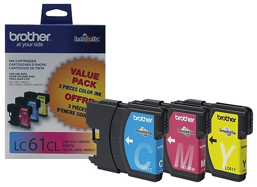 Original Brother LC-61 Ink Cartridges Pack Of 3