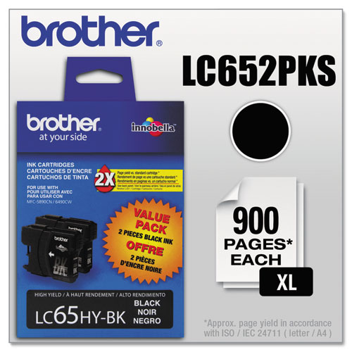 Original Brother LC-65 High Yield Ink Cartridges Pack Of 2 LC-652PKS